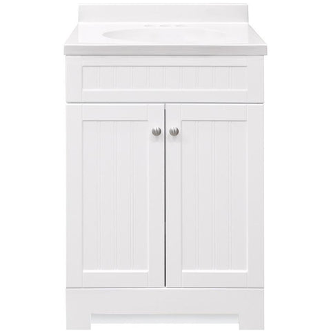 allen + roth Floating 36-in White Single Sink Bathroom Vanity with Natural Carrara Marble Top