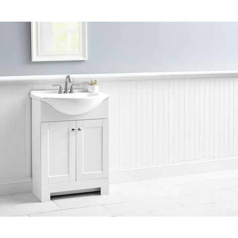 Style Selections Euro 25-in Espresso Single Sink Bathroom Vanity with White Cultured Marble Top