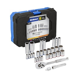 Kobalt 30-Piece Standard (SAE) and Metric Polished Chrome Mechanics Tool Set