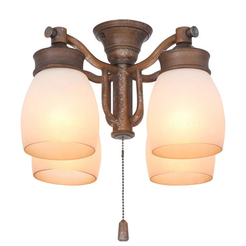 4-Light Aged Bronze Ceiling Fan Fixture with Tea Stain Glass