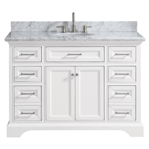 Windlowe 49 in. W x 22 in. D x 35 in. H Bath Vanity in White with Carrera Marble Vanity Top in White with White Sink
