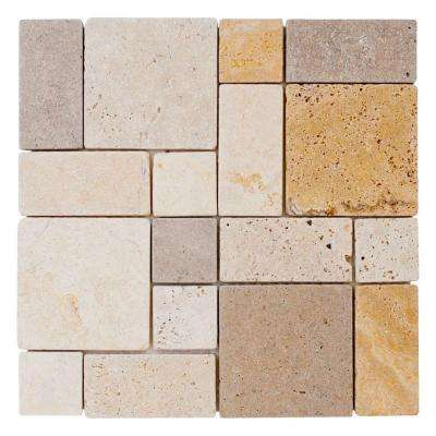 Jeffrey Court      Brick Medley 12 in. x 12 in. x 9 mm Honed Travertine Mosaic Floor and Wall Tile