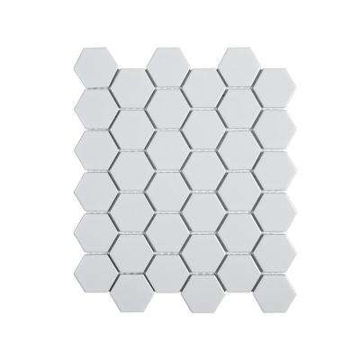 Jeffrey Court      Callalily White 12.375 in. x 10.875 in. x 6 mm Hexagon Matte Porcelain Floor and Wall Mosaic Tile