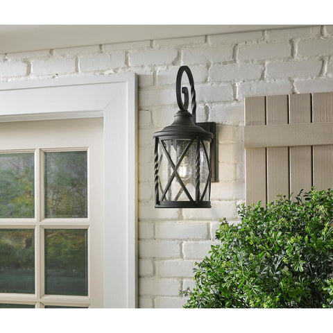 1-Light Black 18.75 in. Outdoor Wall Lantern Sconce with Seeded Glass