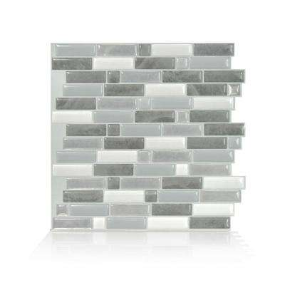 smart tiles      Crescendo Agati 9.73 in. W x 9.36 in. H Gray Peel and Stick Decorative Mosaic Wall Tile Backsplash (4-Pack)