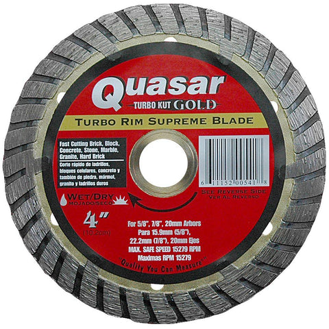 Quasar Turbo Kut Gold 4 in. Turbo Rim Supreme Diamond Blade