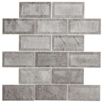 Jeffrey Court      Tundra Grey 2 x 4 Beveled 10 in. x 11.875 in. x 10 mm Interlocking Polished Marble Mosaic Tile