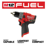 M12 FUEL 12-Volt 1/2 in. Lithium-Ion Brushless Cordless Hammer Drill with Free M12 2.0Ah Battery