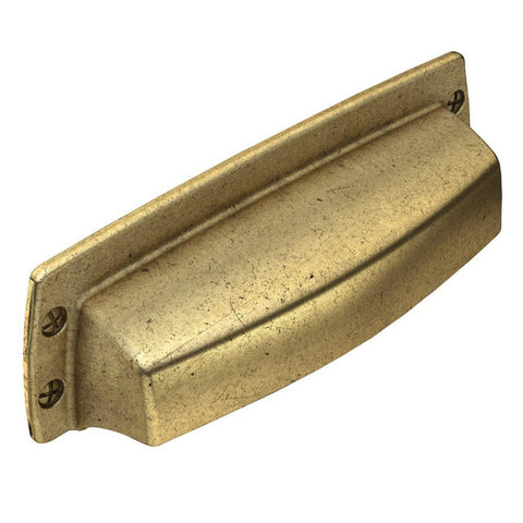 Soft Industrial 3 in. (76 mm) Center-to-Center Vintage Brass Cup Drawer Pull