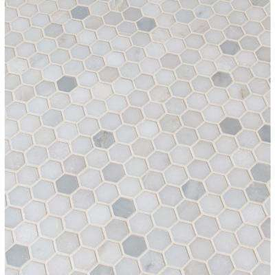 MSI      Greecian White Mini Hexagon 11.61 in. x 11.81 in. x 10 mm Polished Marble Mesh-Mounted Mosaic Tile (0.95 sq. ft.)