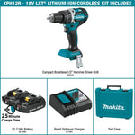 18-Volt LXT Lithium-Ion Compact Brushless Cordless 1/2 in. Hammer Driver-Drill Kit w/ (2) Batteries 2.0Ah and Hard Case