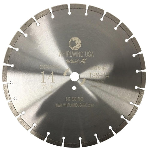 Whirlwind USA 14 in. 23-Teeth Segmented Laser Welded Diamond Blade for Dry or Wet Cutting Concrete, Stone, Brick and Masonry