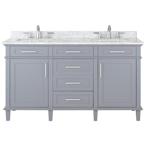 Sonoma 60 in. W x 22 in. D Double Bath Vanity in Pebble Grey with Carrara Marble Top with White Sinks