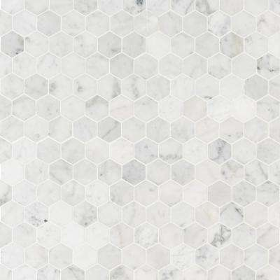 MSI      Carrara White Hexagon 11.75 in. x 12 in. x 8mm Honed Marble Mesh-Mounted Mosaic Tile (0.98 sq. ft.)