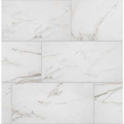 Florida Tile Home Collection      Michelangelo Calacatta Rectified 12 in. x 24 in. Porcelain Floor and Wall Tile (13.3 sq. ft. /case)