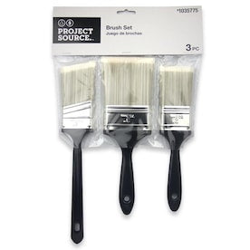 Project Source 3-Pack Utility Polyester Flat and Angle 3-in Paint Brush Set