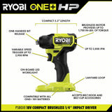 ONE+ HP 18V Brushless Cordless Compact 1/4 in. Impact Driver, 3/8 in. Impact Wrench, (2) Batteries, Charger, and Bag