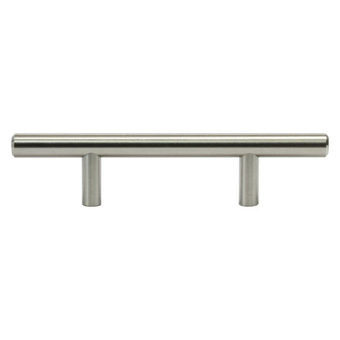 Solid 3 in. (76 mm) Center-to-Center Brushed Nickel Kitchen Cabinet Drawer T-Bar Pull Handle Pull (25-Pack)