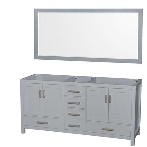 Wyndham Collection Sheffield 78.5-in Dark Gray Bathroom Vanity Cabinet (Mirror Included)