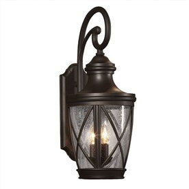 allen + roth Castine 23.75-in H Rubbed Bronze Candelabra Base (E-12) Outdoor Wall Light - Hardwarestore Delivery