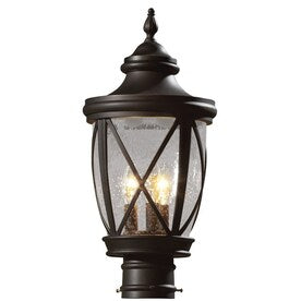 allen + roth Castine 180-Watt 19.5-in Rubbed Bronze Traditional Post Light - Hardwarestore Delivery