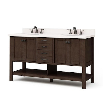 allen + roth Kingscote 60-in Espresso Double Sink Bathroom Vanity with White Engineered Stone Top
