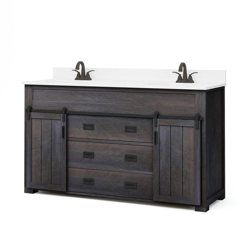 Style Selections Morriston 60-in Distressed Java Double Sink Bathroom Vanity with White Engineered Stone Top