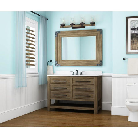 allen + roth Kingscote 48-in Espresso Single Sink Bathroom Vanity with White Engineered Stone Top