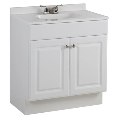 Project Source 30.5-in White Single Sink Bathroom Vanity With White Cu – In  Stock Hardwarestore Delivery
