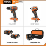 18-Volt SubCompact Li-Ion Brushless 1/2 in. Drill Kit with 3/8 in. Impact Wrench, (2) 2.0 Ah Battery, Charger, and Bag