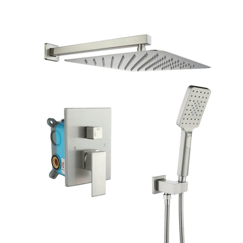 3-Spray with 2.5 GPM 10 in. 2 Functions Tub Wall Mount Dual Shower Heads in Spot in Brushed Nickle (Valve Included)