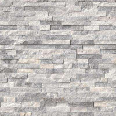 MSI      Alaska Gray Ledger Panel 6 in. x 24 in. Natural Marble Wall Tile (6 sq. ft. / case)