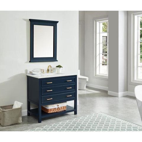 allen + roth Presnell 37-in Dove White Single Sink Bathroom Vanity with Carrara White Natural Marble Top