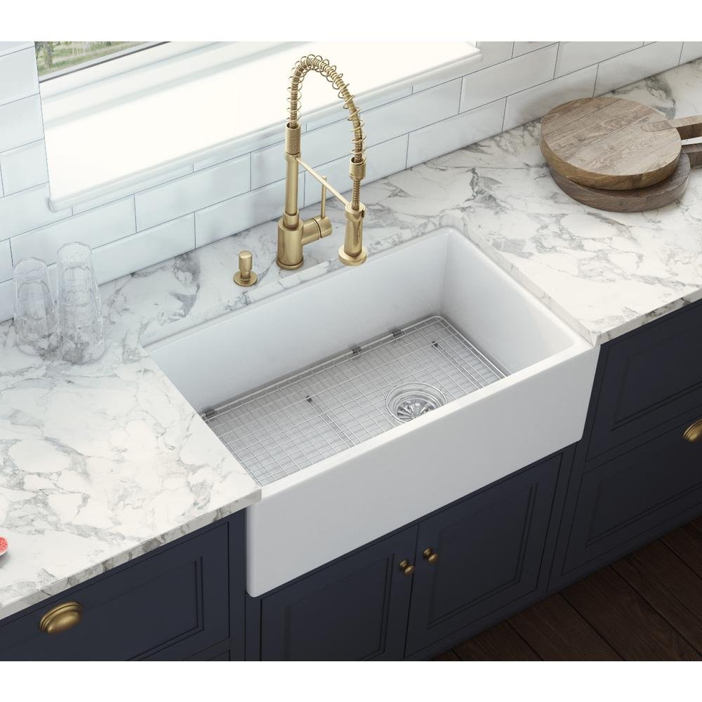 30 In Single Bowl Farmhouse Fireclay Kitchen Sink With Right Offset D Super Arbor