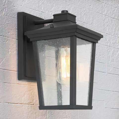 1-Light Black 11 in. H Square Patio LED Decorative Outdoor Metal Caged Wall Lantern Seeded Glass Sconce
