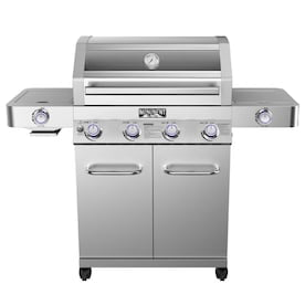 Monument Stainless Steel 4 Liquid Propane Gas Grill with 1 Side Burner