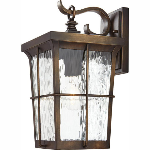 1-Light Golden Bronze Outdoor 7.5 in. Wall Lantern Sconce with Clear Water Glass