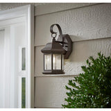 1-Light Bronze Outdoor Wall Lantern Sconce with Seeded Glass (2-Pack)