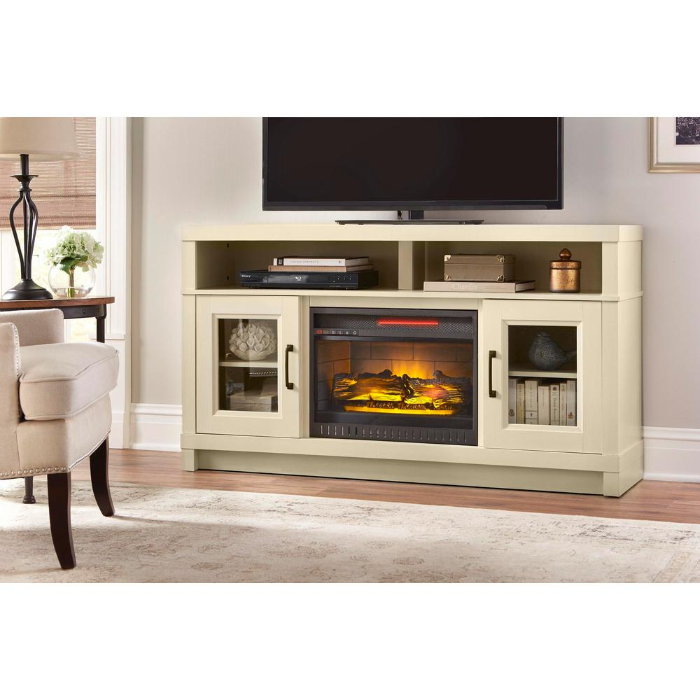 Ashmont 60 In Freestanding Electric Fireplace Tv Stand In Antique Whi Super Arbor