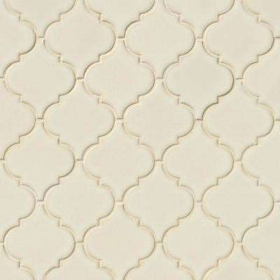 MSI      Antique White Arabesque 10-1/2 in. x 15-1/2 in. x 8 mm Glossy Ceramic Mesh-Mounted Mosaic Wall Tile (11.7 sq. ft. /case)