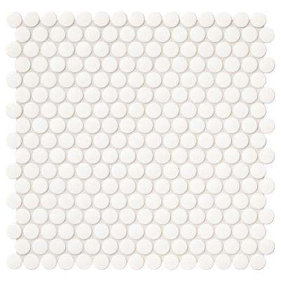 Daltile      Finesse Glossy White 12 in. x 13 in. x 6.35 mm Porcelain Penny Round Mosaic Wall Tile (1.06 sq. ft. / piece)