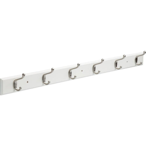 45 in. White and Satin Nickel Hook Rack