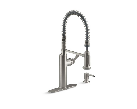 KOHLER Sous Pro-Style Single-Handle Pull-Down Sprayer Kitchen Faucet in Vibrant Stainless - Hardwarestore Delivery