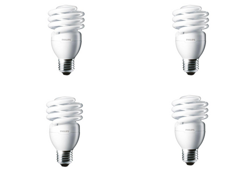 Philips 100-Watt Equivalent T2 Twister CFL Light Bulb Daylight Deluxe (4-Pack) - Hardwarestore Delivery