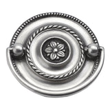 Manor House Collection Rosette Backplate 3-1/2 in. (89 mm) Center-to-Center Silver Stone Cabinet Door and Drawer Pull