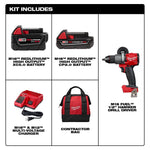 M18 FUEL 18-Volt Lithium-Ion Brushless Cordless 1/2 in. Hammer Drill/Driver with 5.0 Ah and 2.0 Ah Battery, Bag, Charger