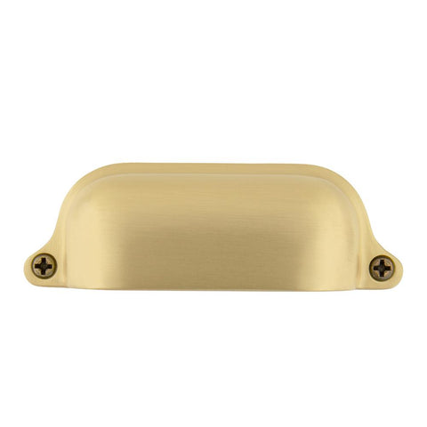 3-1/2 in. (89 mm) Satin Brass Drawer Cup Pull Farm Large