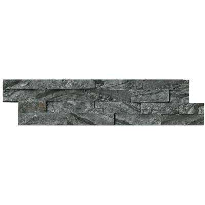 MSI      Glacial Black Ledger Panel 6 in. x 24 in. Natural Marble Wall Tile (6 sq. ft. / case)