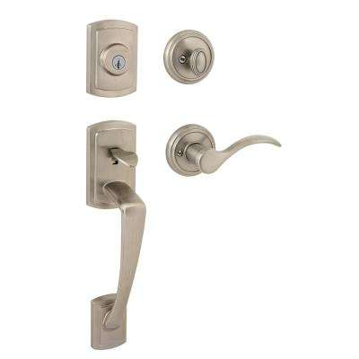 Baldwin      Prestige Nautica Single Cylinder Satin Nickel Door Handleset with Tobin Door Lever Featuring SmartKey Security