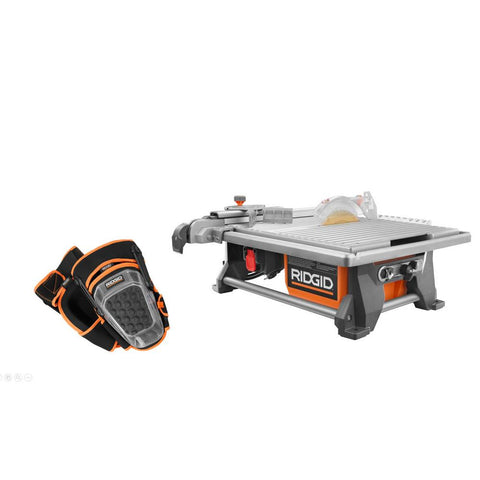 RIDGID 6.5 Amp Corded 7 in. Table Top Wet Tile Saw with Pro-Hinge Stabilizing Knee Pads